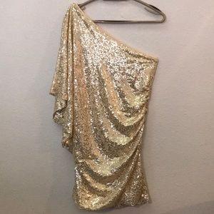 UMGEE one shoulder gold sequin dress batwing XL
